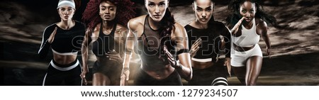 Group of five strong athletic women, sprinters, running on dark background wearing in the sportswear, fitness and sport motivation. Runner concept.