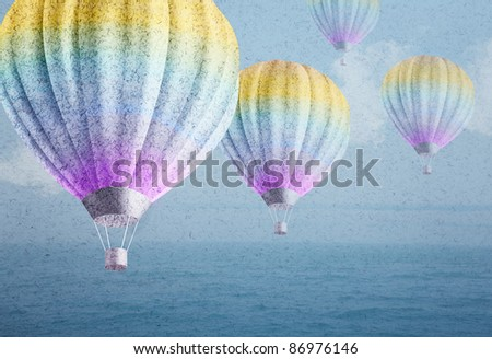group of flying color balloons over watercolor sea landscape paper grunge background original photo compilation