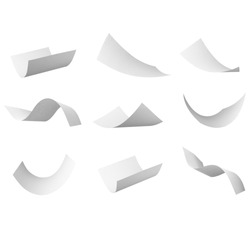 group of flying  papers on white background. each one is in cameras full resolution