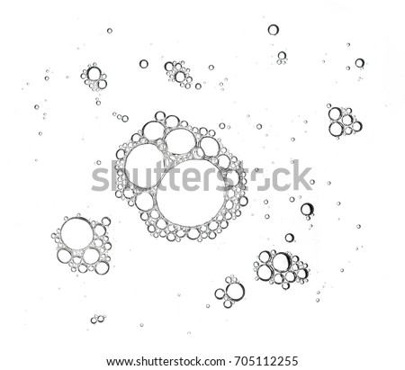 Group of foam bubble from soap or shampoo washing isolated on white background on top view photo object design