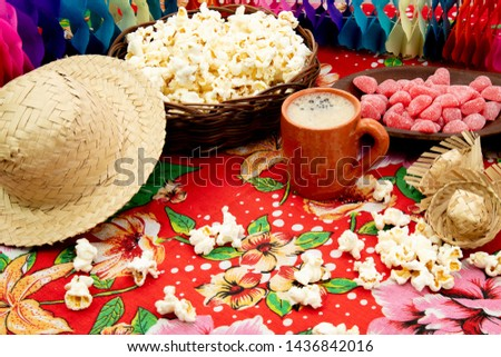 Group of food of Festa Junina, a typical brazilian party, holiday event in June: Pe de moleque, peanut, cake, corn, cookies, porcorn. Green Table. #1436842016