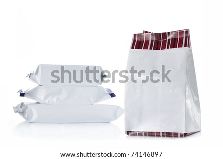 group of food product pack over white background
