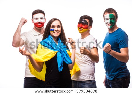 Group of football fans celebrate and support their national team: Ukraine, Germany, Poland, Northern Ireland at camera on white background. European football fans concept. #399504898