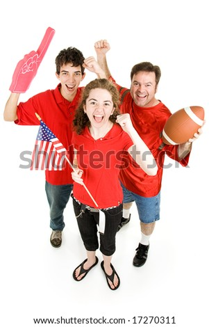 Group of football fans going wild.  Full body isolated on white.