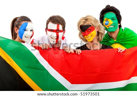 Group of football fans holding a southafrican flag with their faces painted isolated over white
