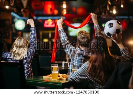 Group of football fans watching match in sport bar