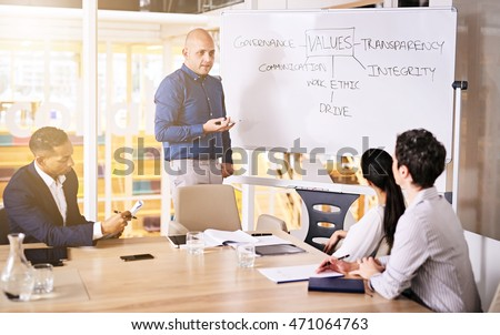 Group of four business executives with excessive experience when combined all brainstorming together to name all the values they believe they should encourage in their firm.