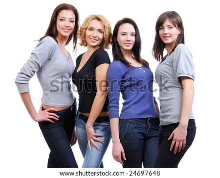 Group of four happy smiling women on a white background.
