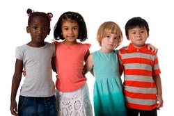 Group of four multiracial  kids in studio on white background