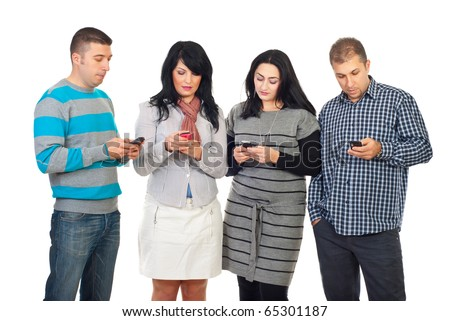 Group of four people in a row using their phones  to writing or reading SMS isolated on white background