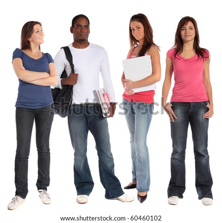 Group of four students standing next to each other. All isolated on white background.