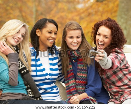 Group Girls Group of Four Teenage Girls
