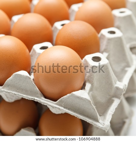 Group of fresh eggs in paper tray