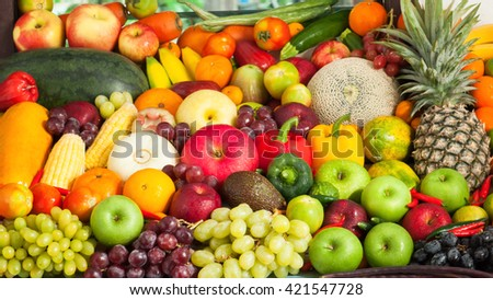 Group of fresh fruits and vegetables for healthy #421547728