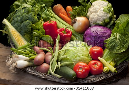 group of fresh, raw vegetables