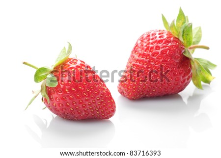 Group of fresh strawberries whith isolated on white