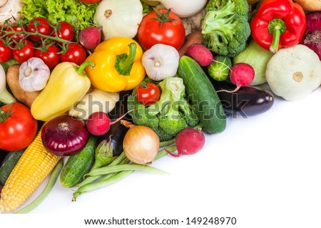 Group of fresh vegetables isolated on a white background #149248970