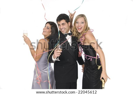 group of friends at a new years party with champagne