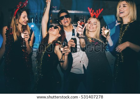 Group of friends at club having fun. New year's party #531407278