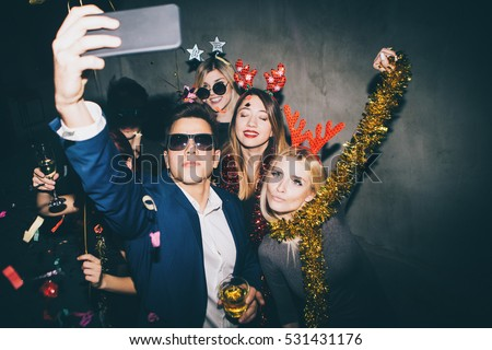 Group of friends at club making selfie and having fun  #531431176