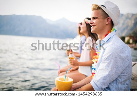 Group of friends enjoying summer vacation. Summer, holidays, vacation and happiness concept #1454298635