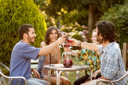 Group of friends having a toast with sangria on a bar terrace