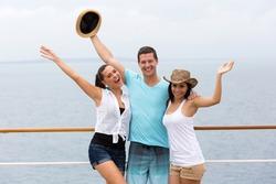 group of friends having fun cruise ship