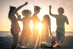 Group of friends having fun on the beach making a bonefire