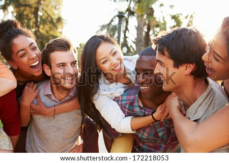 Group Of Friends Having Fun Together Outdoors Сток-фото ©