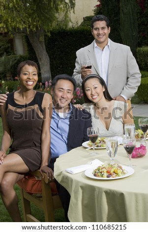 Group of friends having lunch together