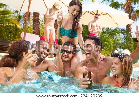 free photos group of friends having party in pool drinking champagne