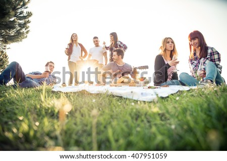Group of friends having pic-nic in a park on a sunny day - People hanging out, having fun while grilling and relaxing #407951059