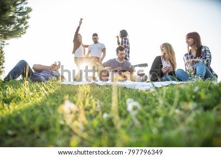 Group of friends having pic-nic in a park on a sunny day - People hanging out having fun while grilling and relaxing