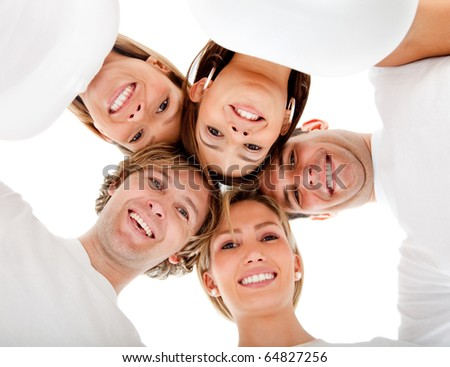 Group of friends hugging in a circle - isolated