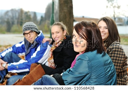 Group of friends in park together