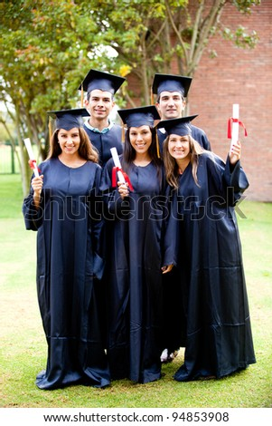 Group of friends looking happy on their graduation day