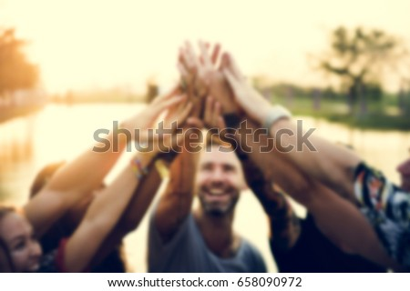 Group of friends party hands power unity