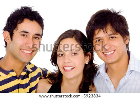 group of friends portrait smiling - isolated over a white background