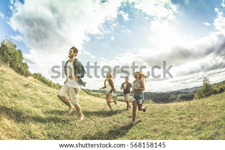 group of friends running free...