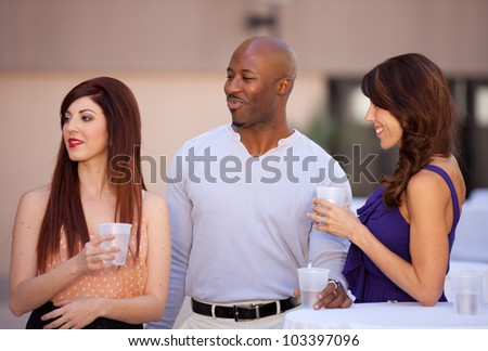 Group of Friends Socializing in a casual after work setting