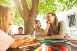 Group of friends studying under a tree on a wooden table