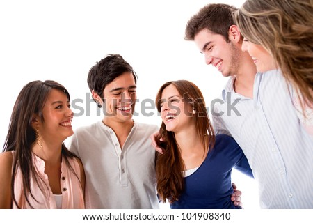 Group of friends talking and having fun - isolated over white