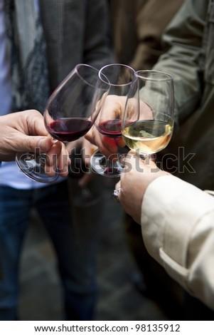 Group of friends tasting wine