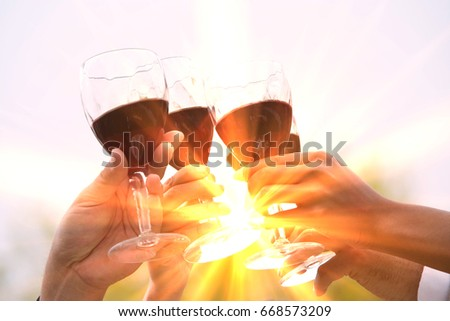 group of friends toasting...