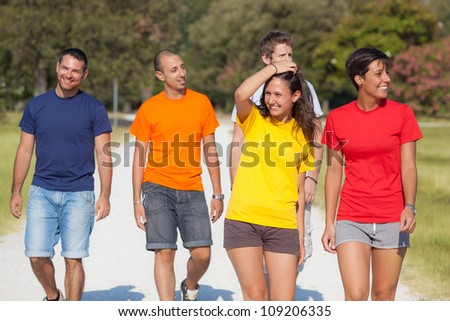 Group of Friends Walking Outside