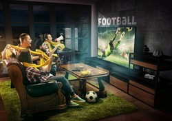 Group of friends watching TV, football match, championship, sport games. Emotional men and women cheering for favourite team, look on goalkeeper's jump. Concept of friendship, competition, emotions.