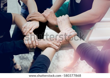 Group of Friends with Hands in Stack, Teamwork #580377868