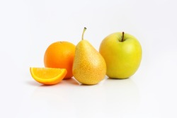 group of fruits on white with apple, pear, orange