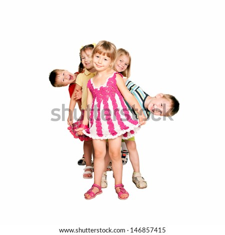 Group of fun children dancing playing and laughing Kids party or celebration ready for your text logo or symbols Isolated on white background