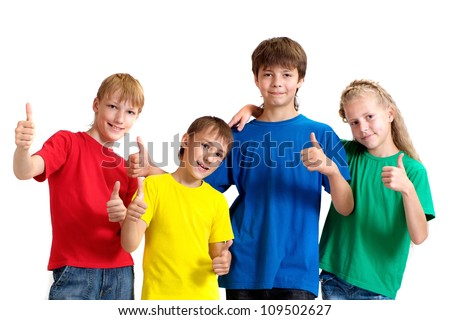 Group of funny children in bright T-shirt on a white background